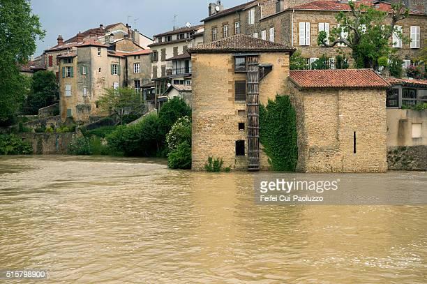 Flooding river at Mont-de-Marsan of the Landes department in France