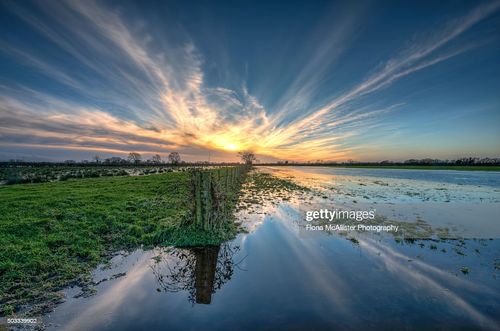 Floodland Sunset : Stock Photo