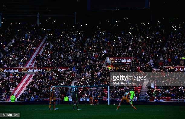 Floodlight faliure inside the stadium during the Premier League match between Sunderland and Hull City at Stadium of Light on November 19 2016 in...
