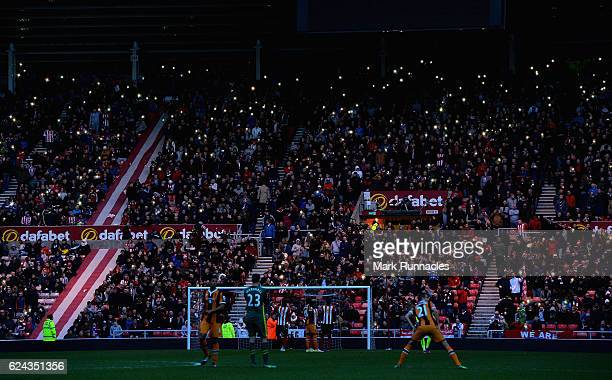 Floodlight faliure inside the stadium during the Premier League match between Sunderland and Hull City at Stadium of Light on November 19, 2016 in...