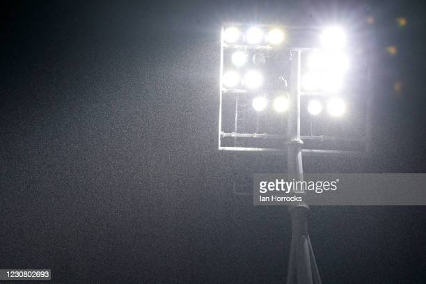 Floodlight illuminate the rain before the Sky Bet League One match between Ipswich Town and Sunderland at Portman Road on January 26, 2021 in...