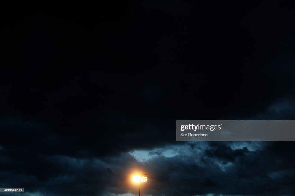 Floodlight is seen as bad weather hits the stadium during the Sky Bet Championship match between Fulham and Huddersfield Town at Craven Cottage on November 8, 2014 in London, England.