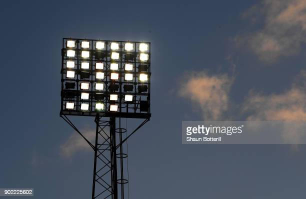 A floodlight is seen at City Ground ahead of The Emirates FA Cup Third Round match between Nottingham Forest and Arsenal at City Ground on January 7...