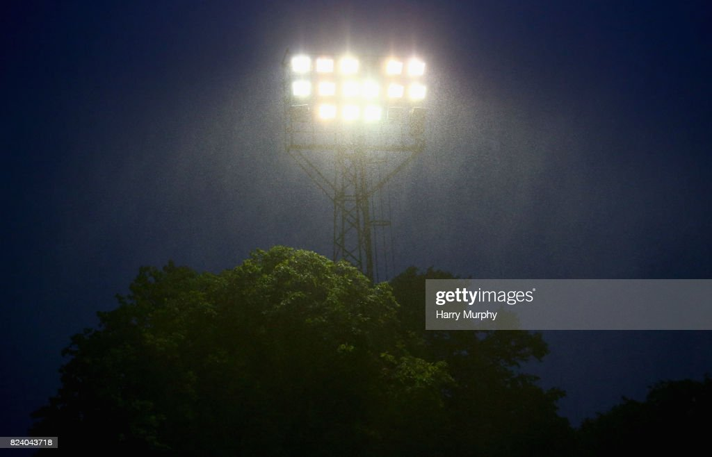 A floodlight is seen during the Pre-Season Friendly match between Aldershot Town and AFC Wimbledon on July 28, 2017 in Aldershot, England.