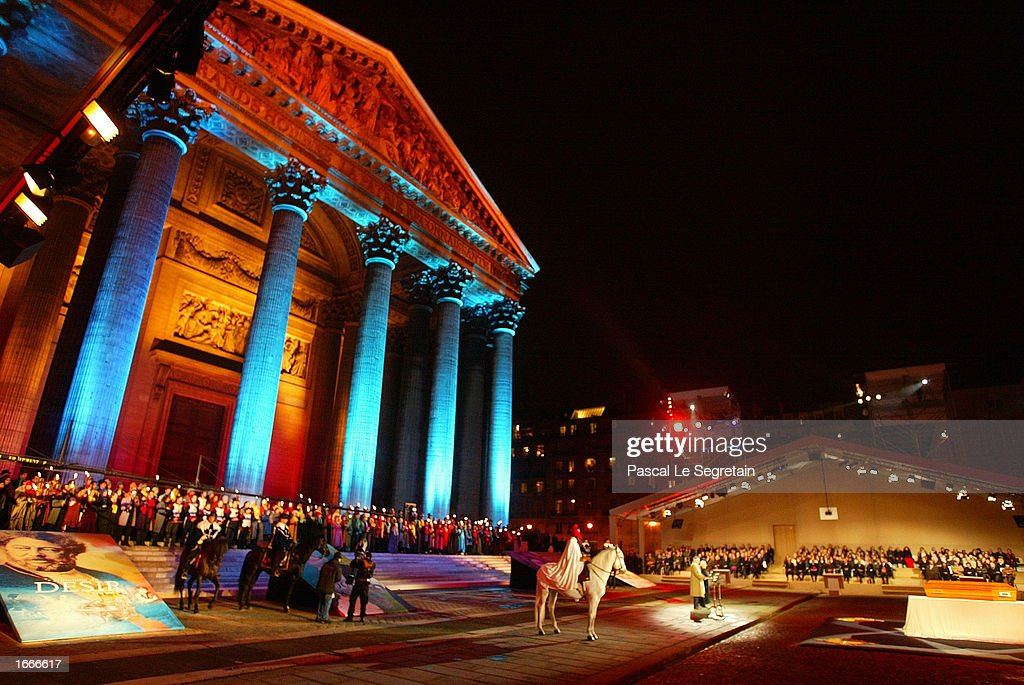 Floodlights illuminate the Pantheon during a ceremony transferring the ashes of Alexandre Dumas November 30, 2002 in Paris, France. The Pantheon is the traditional resting place of the remains of France's greatest historical and cultural figures.