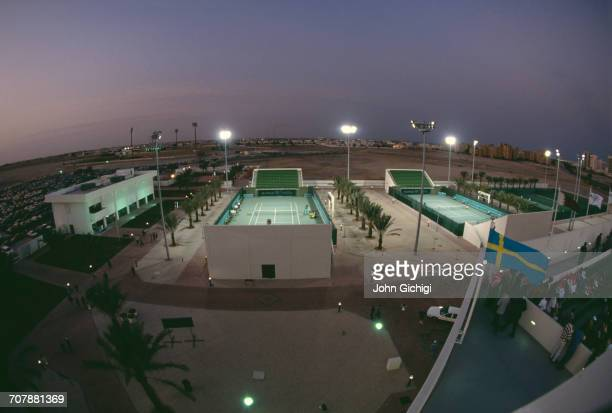 Floodlights illuminate the tennis courts and tennis centre during the Mannai Cadillac Qatar Tennis Open on 10 January 1993 at the Khalifa...
