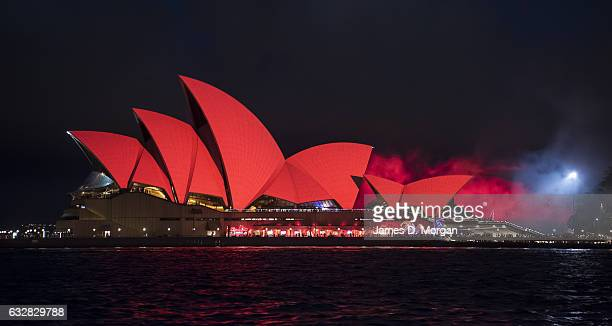Floodlights turn the famous Opera House red to celebrate New Year on January 27 2017 in Sydney Australia A number of events are being held across...