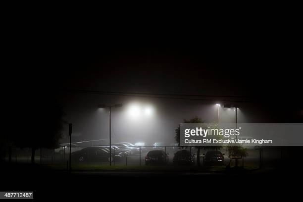 Floodlit  parking lot at night