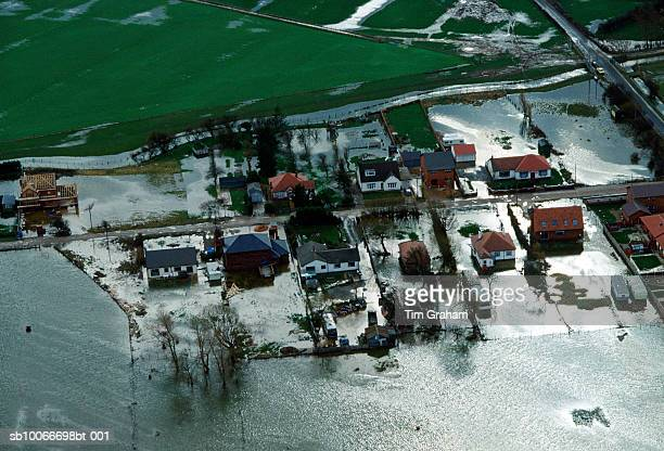 floods at towyn, wales, uk - flooding stock photos and pictures