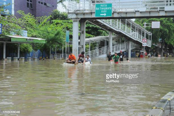 Floods hit several areas of Jakarta, especially on the main road to Jakarta's residential areas, on February 202. The high intensity of rain caused a...