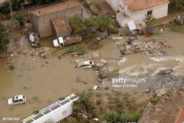 Floods in Nimes due to huge rains on October 3 1988 in Nimes France