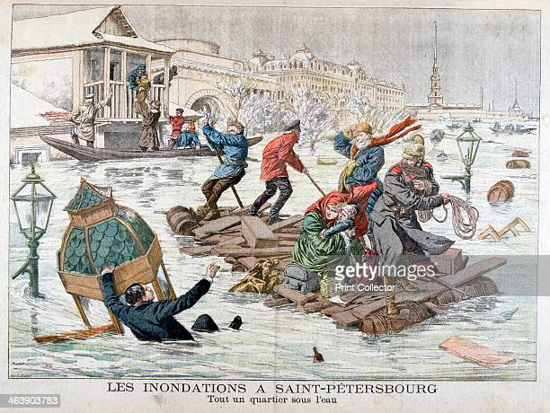 Floods in St Petersburg Russia 1903 An illustration from Le Petit Journal 13th December 1903