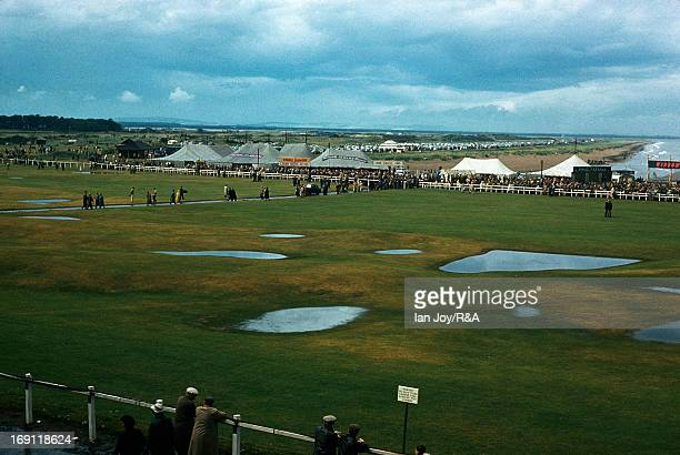 Floods on the 18th hole during the 1960 Open Championship held on the Old Course at St Andrews on July 7 1960 in St Andrews Scotland