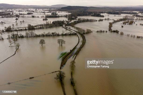 Floodwater covers fields in the Wye Valley, near the hamlet of Wellesley, following Storm Dennis on February 17, 2020 in Hereford, England. Storm...