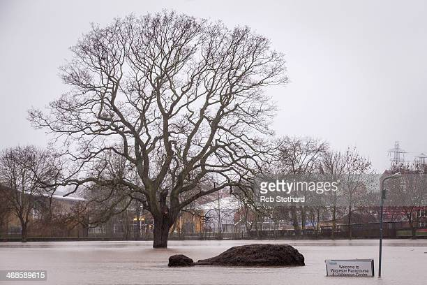 Floodwater covers Worcester Racecourse on February 11 2014 in Worcester England The Environment Agency has issued flood warnings for dozens of areas...