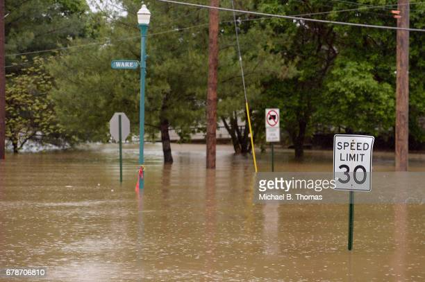 Floodwater fills an intersection on May 4 2017 in Fenton Missouri Towns along the Meramec River brace for the river to crest after days of rainfall...