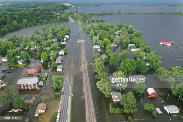 Floodwater from the Mississippi River has overtaken much of the town on June 1 2019 in Foley Missouri The middlesection of the country has been...