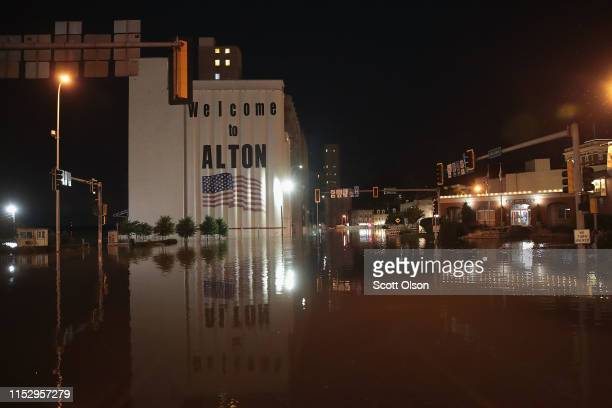 Floodwater from the Mississippi River rises in the downtown area on May 31 2019 in Alton Illinois The middlesection of the country has been...