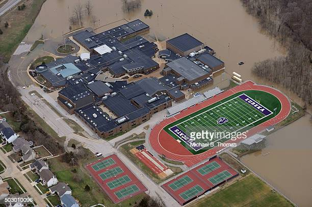Floodwater is seen approaching on the campus of Eureka High School on December 31 2015 in Eureka Missouri The St Louis area and surrounding region...