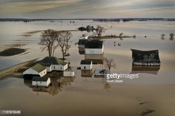 Floodwater surrounds a farm on March 22, 2019 near Craig, Missouri. Midwest states are battling some of the worst floodings they have experienced in...