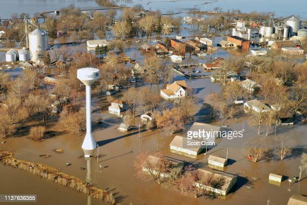 Floodwater surrounds the town on March 22 2019 in Craig Missouri Midwest states are battling some of the worst flooding they have experienced in...