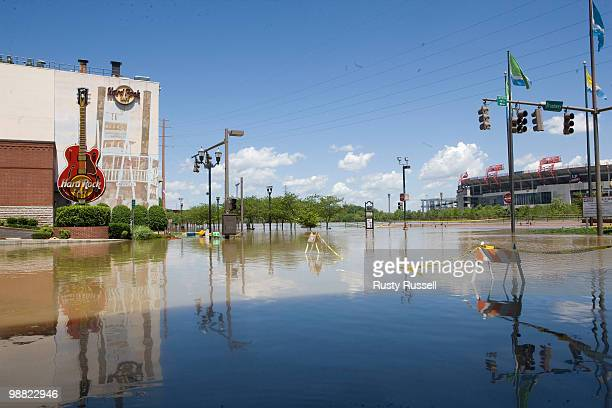 Floodwaters cover downtown streets and sidewalks May 3 2010 in the Lower Broad district of Nashville Tennessee More than 13 inches of rainfall fell...