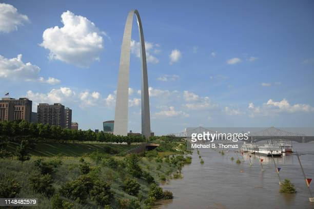 Floodwaters from a swollen Mississippi River take over the Gateway Arch grounds on June 7, 2019 in St Louis, Missouri. Places along Mississippi river...
