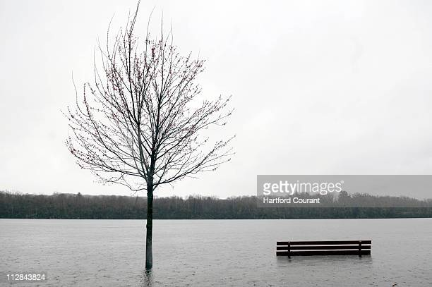 Floodwaters from the Connecticut River submerge a park bench on Tuesday March 30 in Cromwell Connecticut