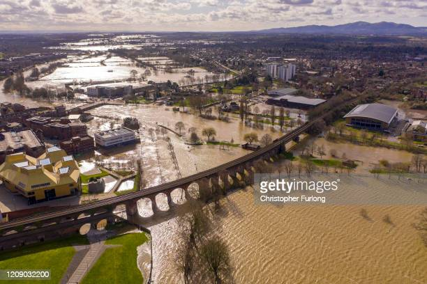 Floodwaters persist in the centre of Worcester City after the River Severn burst its banks on February 27, 2020 in Worcester, England. Flooding...
