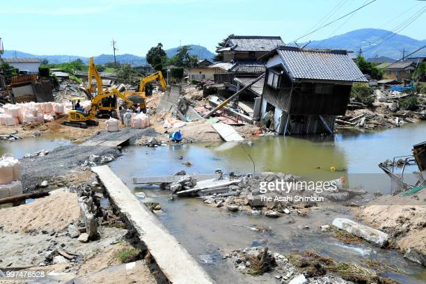 Floodwaters remain at Mabicho area on July 13 2018 in Kurashiki Okayama Japan The death toll from the torrential rain in western Japan due to...