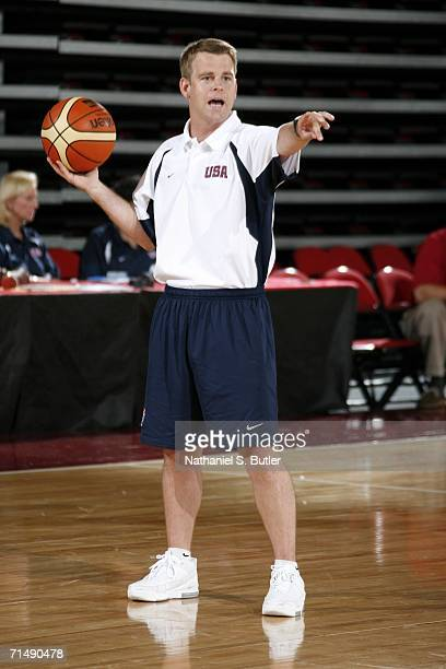 Floor coach Steve Wojciechowski gives directions during USA Senior Mens National Team practice on July 20 2006 at the Cox Pavilion in Las Vegas...