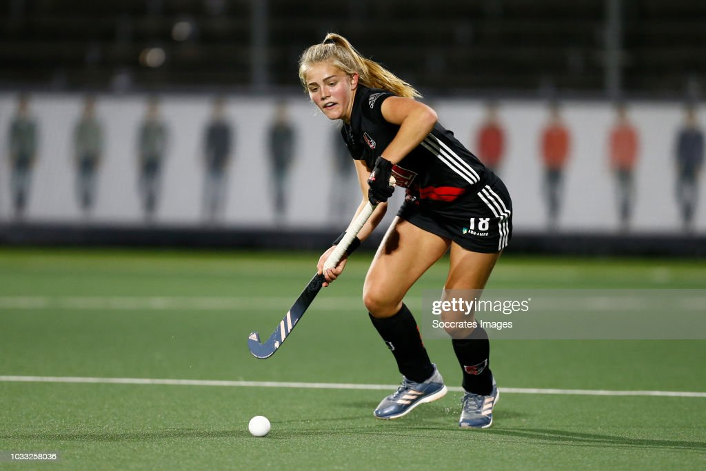 Floor de Haan of Amsterdam Dames 1 during the Hoofdklasse Women match between Amsterdam v Pinoke at the Wagener Stadium on September 14, 2018 in Amsterdam Netherlands