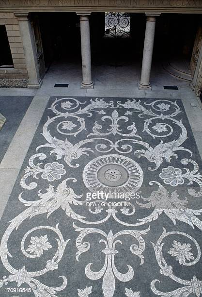 Floor decoration of the courtyard Bagatti Valsecchi Museum Milan Lombardy Italy Detail