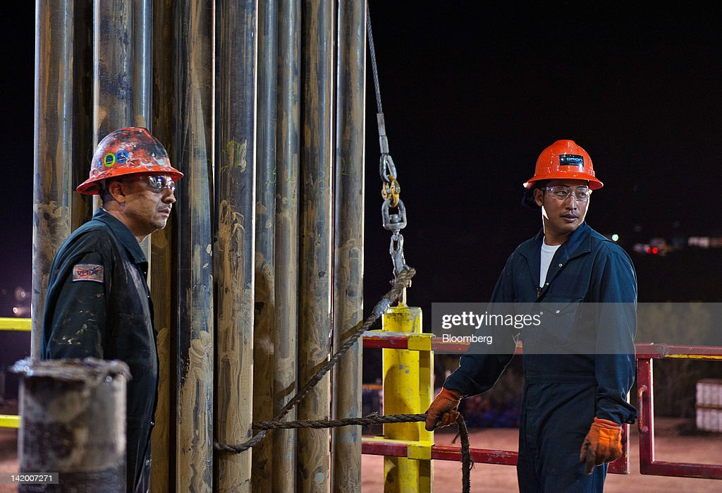 Operations At An Orion Drilling Co. Oil Platform : News Photo