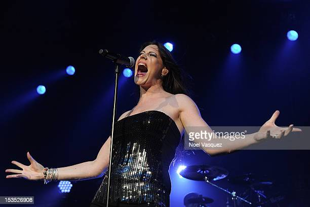 Floor Jansen of Nightwish performs at the City National Grove of Anaheim on October 5, 2012 in Anaheim, California.