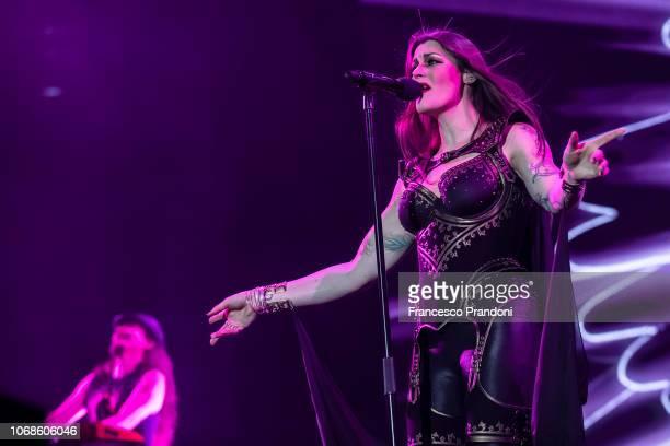 Floor Jansen of Nightwish performs on stage at Mediolanumforum on December 4, 2018 in Milan, Italy.