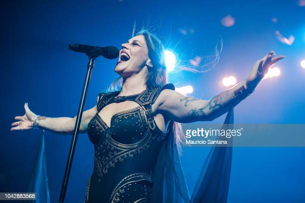 Floor Jansen singer member of the band Nightwish performs live on stage at Tom Brasil on September 28, 2018 in Sao Paulo, Brazil.