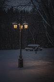 un lampadaire dans un parc public