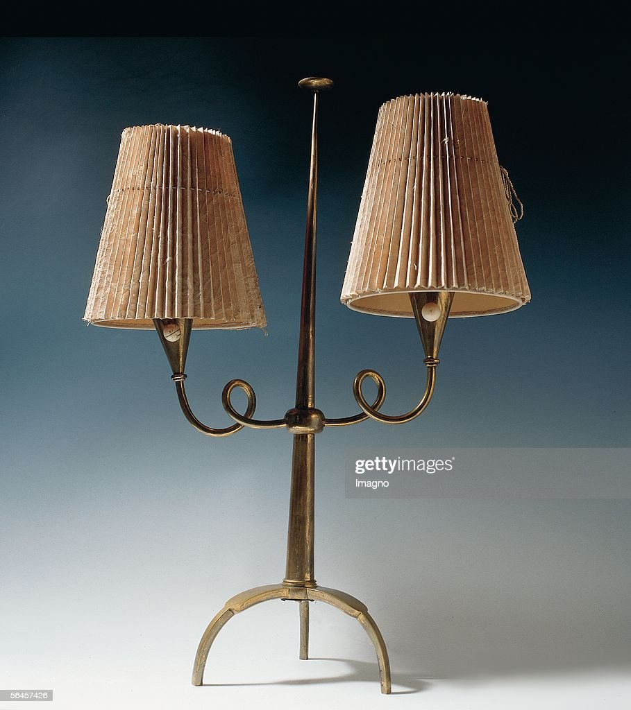 Floor Lamp Two Armed 1919 Brass Ivory By The Wiener