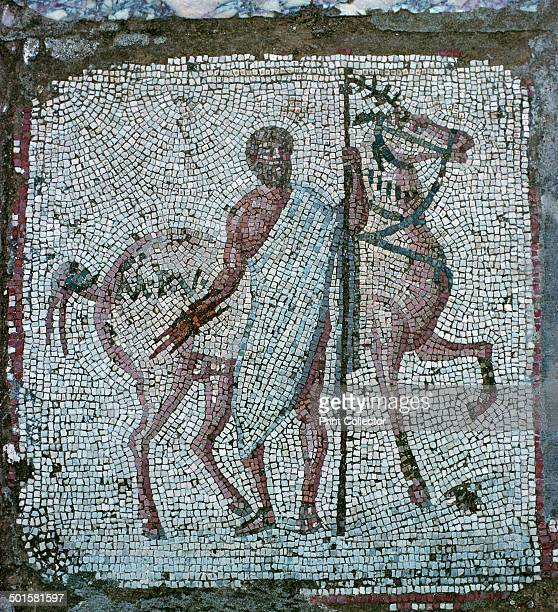 Floor mosaic from a Roman villa in Carthage of a man with a horse