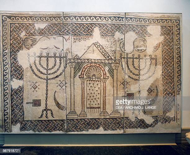 Floor mosaic from the synagogue near Beth Shean depicting the ark and two menorahs 6th century Jerusalem Israel Museum