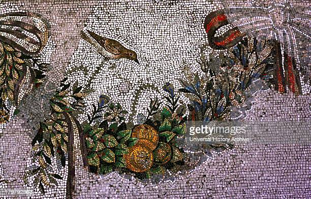 Floor Mosaic with Depiction of a Parakeet From the Altar chamber in Palace V
