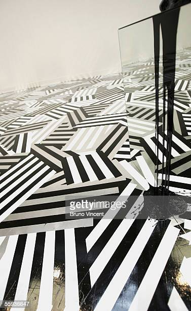 A floor of Turner Prize shortlist artist Jim Lambie's installation is seen at the Tate Britain gallery on October 17 2005 in London The exhibition of...