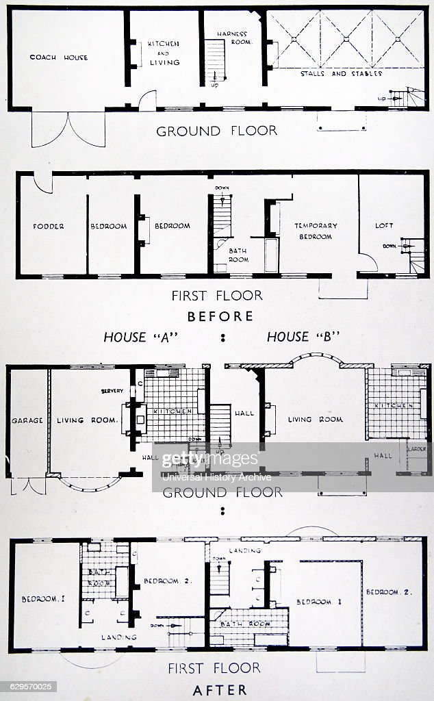floor plan of adjoined houses with stables and a coach house - Coach House Floor Plans