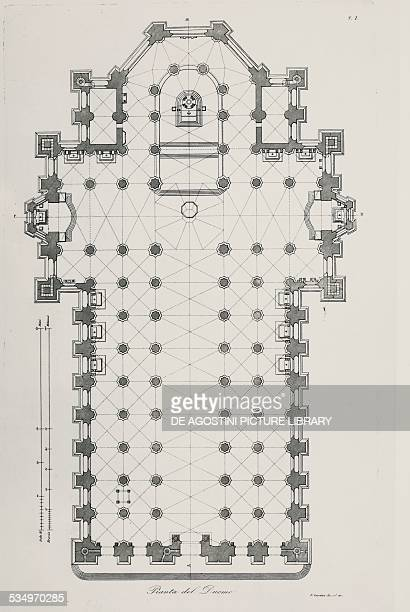 Floor plan of Milan cathedral engraving Italy 19th century