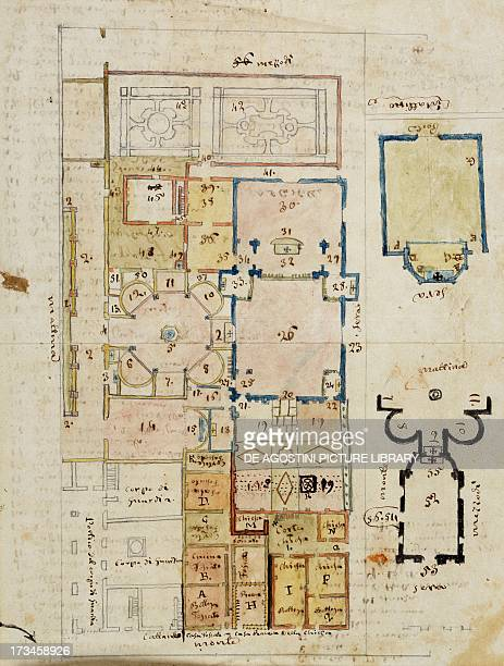 Floor plan of the baptistery and the area around the cathedral in Novara drawing by Panigone copy of Documents relating to the churches monasteries...