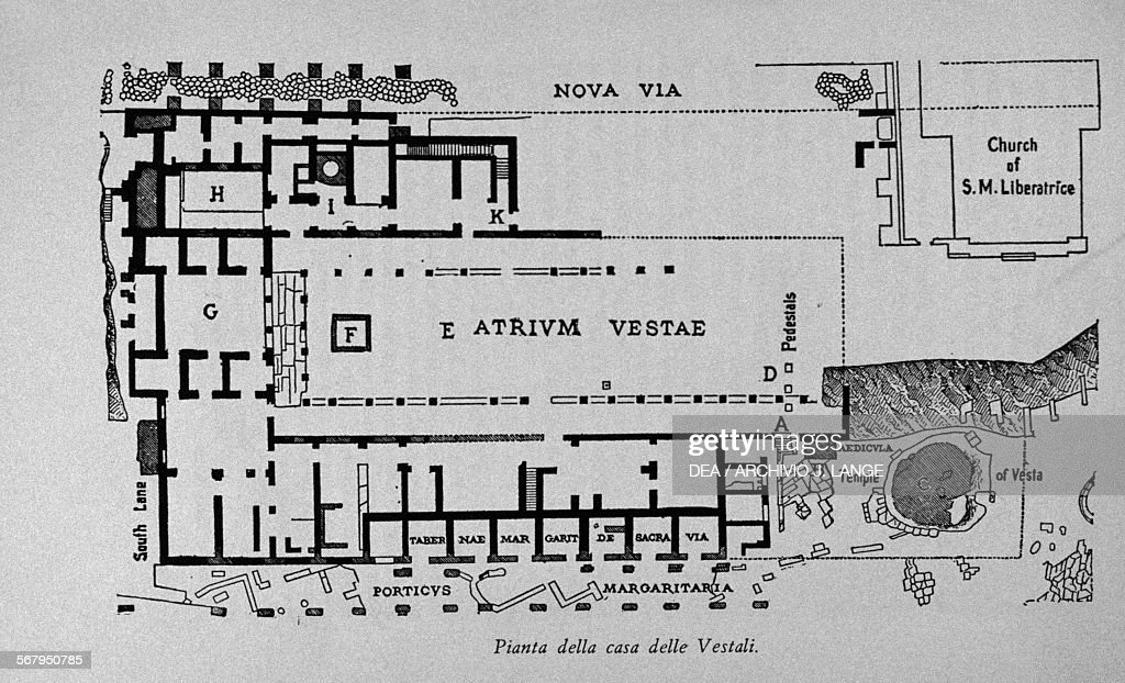 Floor Plan Of The House Of The Vestal Virgins Near The Roman Forum, By The