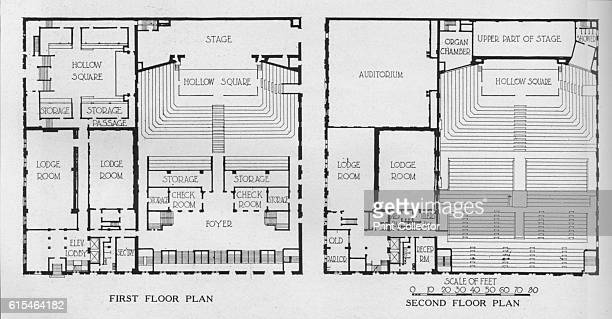 Floor plans the Masonic Temple Birmingham Alabama 1924 From The Architectural Forum Volume XLI [Rogers and Manson New York 1924] Artist Unknown