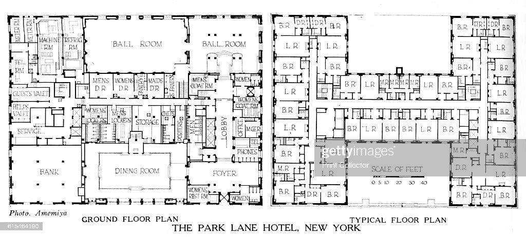 hotel floor plans. Floor Plans, The Park Lane Hotel, New York City, 1924. From Hotel Plans