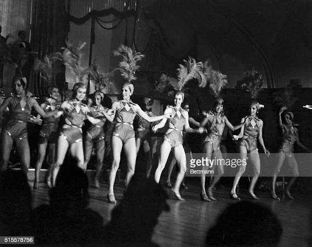 Floor show from the famous Harlem night club 'The Cotton Club' featuring leggy row of chorus girls Photograph 1920's